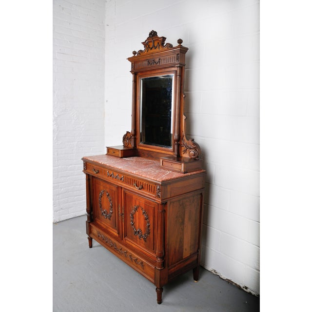 1900's French Walnut Vanity Dresser with Red Italian Marble Top For Sale In New York - Image 6 of 13