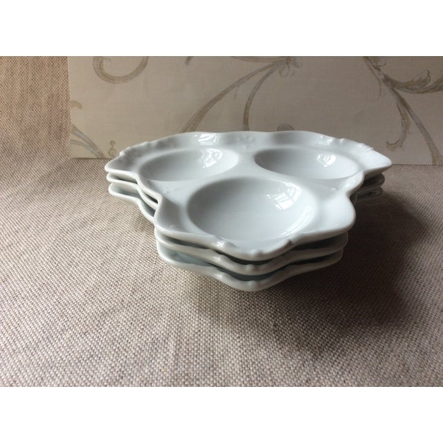 "For your consideration... A trio of three antique porcelain"" French Bistro "" Oyster Plate s Plates like these were used in..."