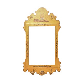 1970s Vintage Baker Chinoiserie Yellow Mirror For Sale