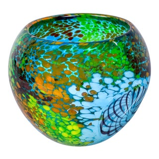 Italian Murano Glass Bowl in Greens and Blues For Sale