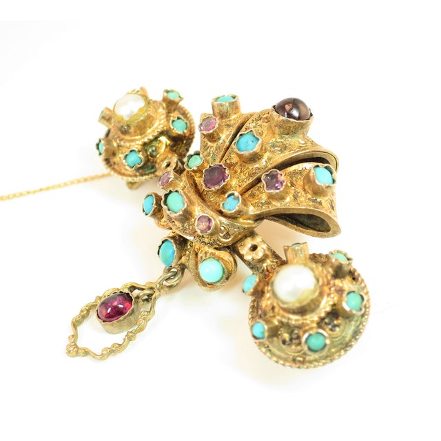 Baroque Georgian Baroque Brooch 10k Gold Amethyst Turquoise Pearls Circa 1840 For Sale - Image 3 of 12