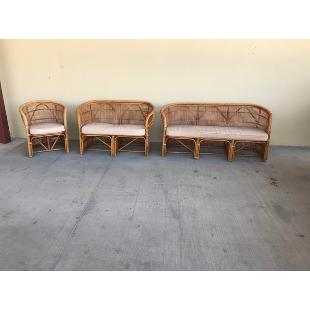 Brown Mid Century Italian Rattan and Bamboo Chairs and Settee- 6 Pieces For Sale - Image 8 of 11