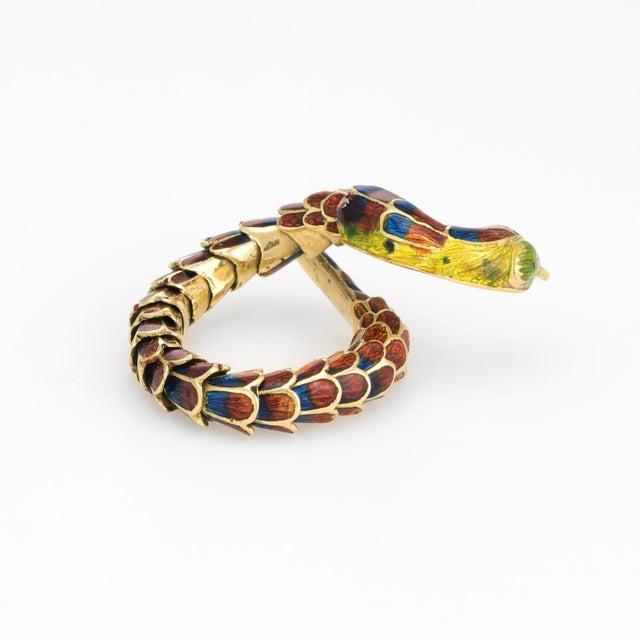 Modern Vintage Snake Ring 18 Karat Gold Enamel Flexible Estate Fine Jewelry Scales For Sale - Image 3 of 8