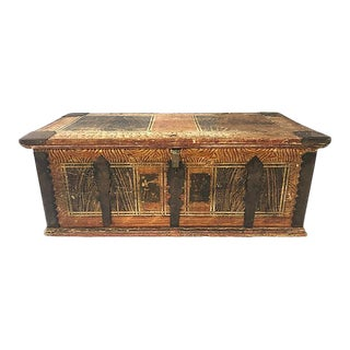 19th-C. French Painted Pine Trunk For Sale