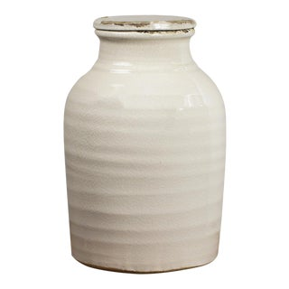 White Ceramic Vase with Lid