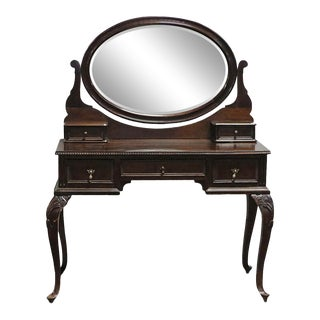 Early 20th Century Traditional Brown Dressing Table With Swivel Mirror For Sale