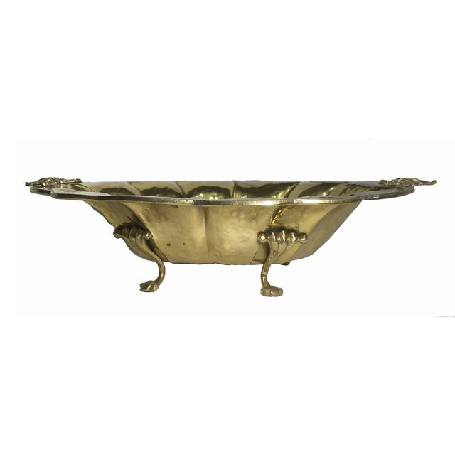Large Hammered Brass Footed Bowl - Image 2 of 7