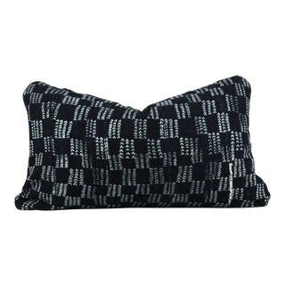 Casual Blues African Mudcloth Medium Lumbar Pillow For Sale