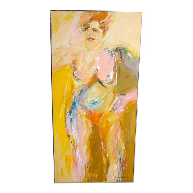 """Large Format 1970s Vintage Suzanne Peters """"Sunbather"""" Expressionist Nude Female Portrait Oil on Canvas Painting For Sale"""