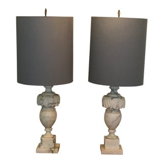 Vintage Classical White & Gray Marble Lamps - A Pair