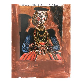 'Lady in Brown' Framed Picasso Poster Painting by Sean Kratzert For Sale