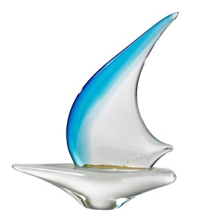 Vintage Mid-Century Murano Glass Sail Boat Sculpture For Sale