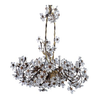 French Chandelier With Metal Basket Surround and Glass Flowers For Sale