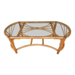 Rattan Coffee Table -Bamboo and Wicker With a Glass Cover