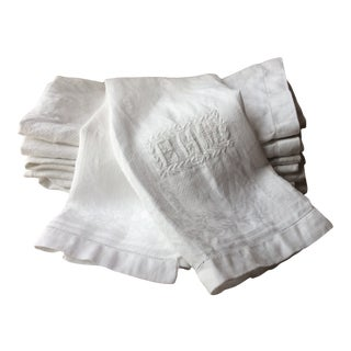 Antique French Linen Hand Towels With Monograms - Set of 6 For Sale