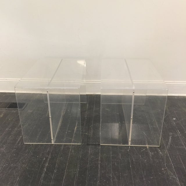 1970s 1970s Modern Charles Hollis Jones Lucite Side Tables - a Pair For Sale - Image 5 of 10