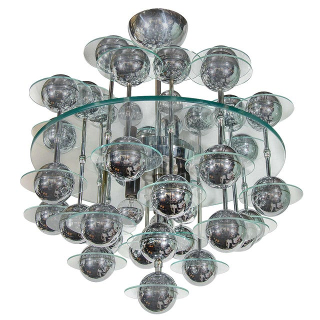 Silver Mid-Century Modern Space Age Chandelier For Sale - Image 8 of 8