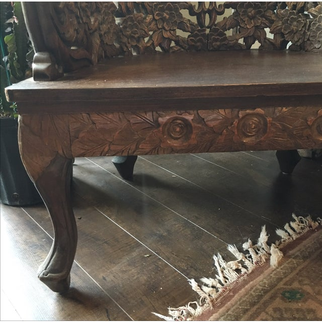 Ornately Carved Wooden Asian Accent Chair - Image 8 of 10