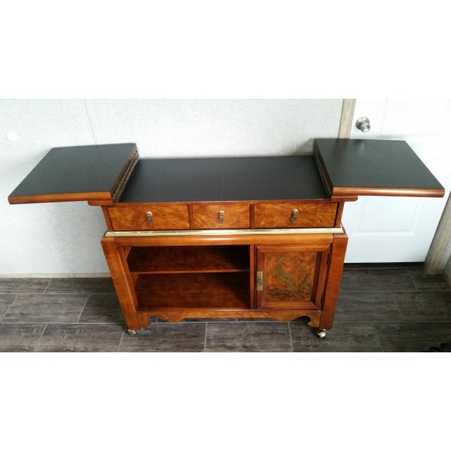 Oriental-Inspired Rolling Credenza Sideboard For Sale In San Antonio - Image 6 of 13