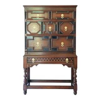 Jacobean Style Tall Drop Front Secretary For Sale
