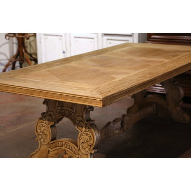 Tan Early 20th Century French Carved Bleached Oak Marquetry Trestle Dining Table For Sale - Image 8 of 13