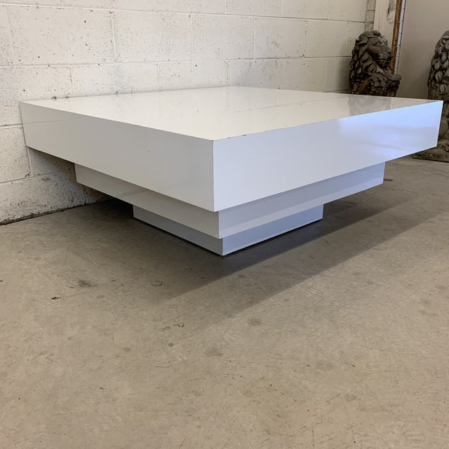 Contemporary Contemporary Modern Tiered White Gloss Coffee Table For Sale - Image 3 of 10