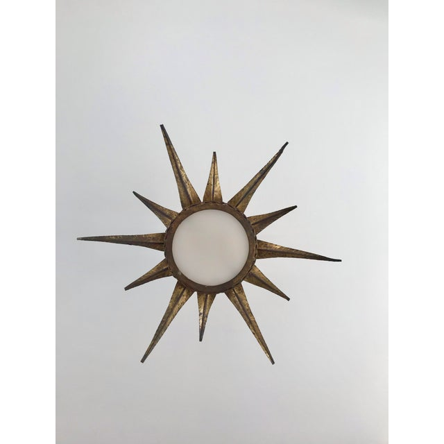 1950s French Sunburst Ceiling Mount Fixture For Sale - Image 6 of 9