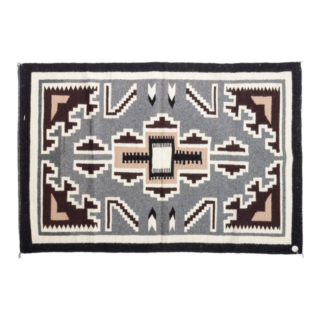 Vintage Navajo Two Grey Hills Rug-2'4'x3'9 For Sale