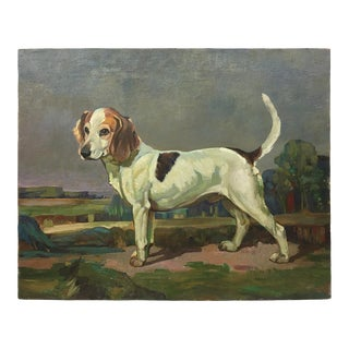 Vintage English Hunting Beagle in Field Oil Painting For Sale