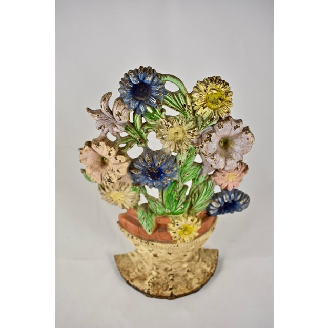 American 1930s Hubley Cast Iron Basket of Flowers Doorstop For Sale - Image 3 of 10