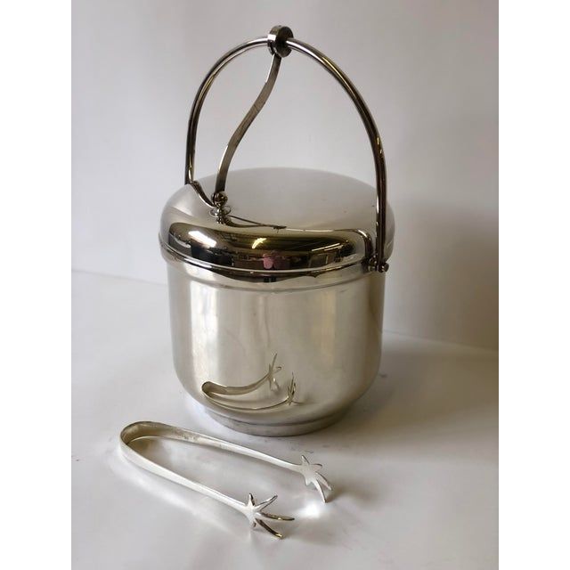 Silverplated Swing Top Ice Bucket and Tongs, Reed & Barton - a Pair For Sale - Image 10 of 13