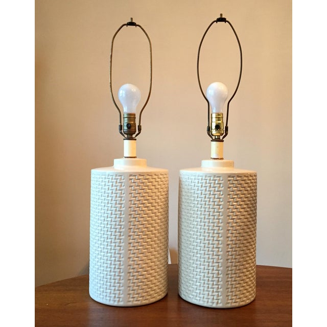 Hollywood Regency Chinoiserie Glass Lamps - Pair - Image 2 of 3