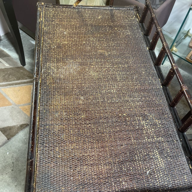 Vintage Bamboo Writing Desk For Sale - Image 10 of 12