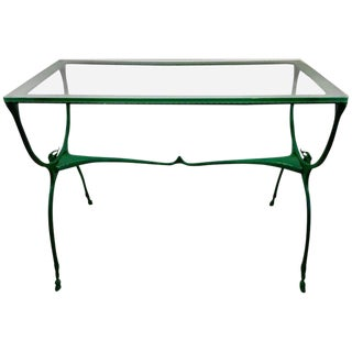Mid-Century Neoclassic Glass Top Garden Table