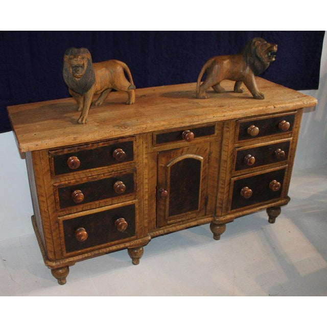 Country style construction made from pine wood and all original painted surface. This credenza offers multi drawer storage...