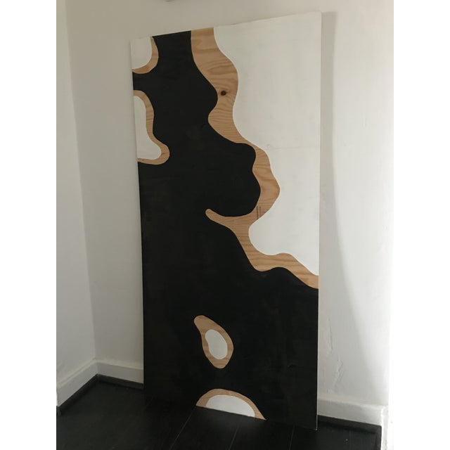 Hannah Polskin original 2019 black and white abstract acrylic painting on plywood. Camo motif with exposed wood and...