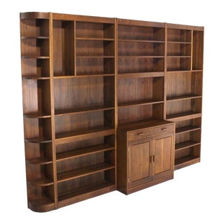 Large All Solid Walnut Shelving Wall Unit Bookcase Nakashima Style For Sale