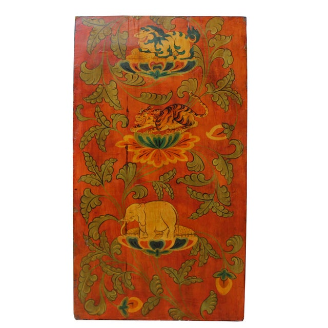 Red Chinese Tibetan Vintage Elephant Tiger Animal Graphic Wood Wall Panel For Sale - Image 8 of 9