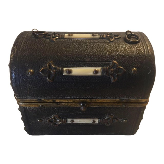 Continental Perfume Shagreen, Mother of Pearl Miniture Trunk With Gilt Filigree Crystal Bottles - 3 Pieces For Sale