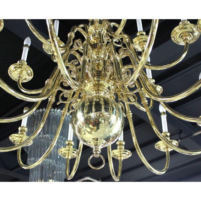 Early 20th Century Vintage Brass Candelabra Chandelier For Sale - Image 5 of 10