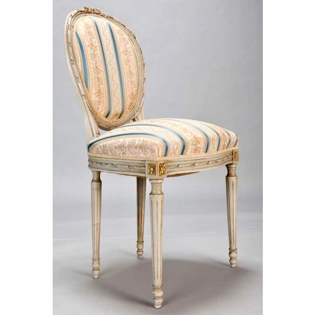Set of 8 French Louis XVI Cameo Back Dining Chairs With New Upholstery For Sale - Image 5 of 7