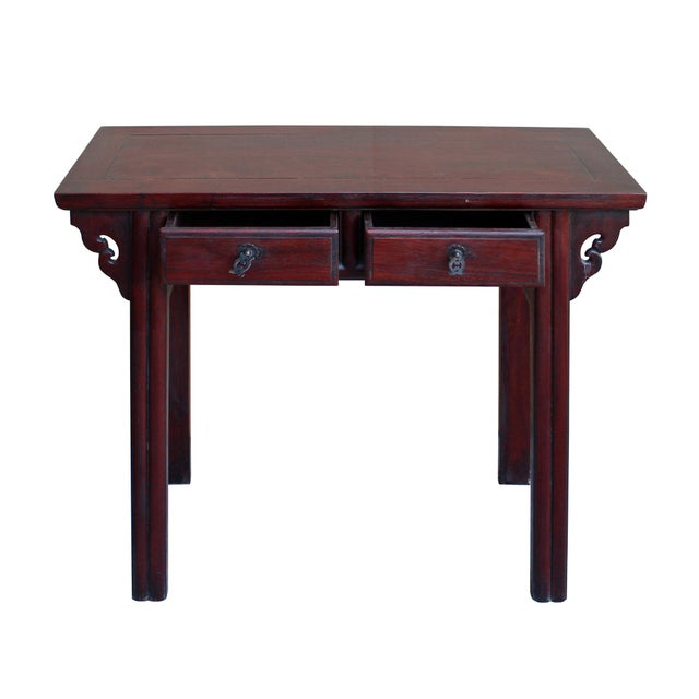 Chinese Low Small Reddish Brown Huali Rosewood Plant Stand Side Table For Sale - Image 5 of 7