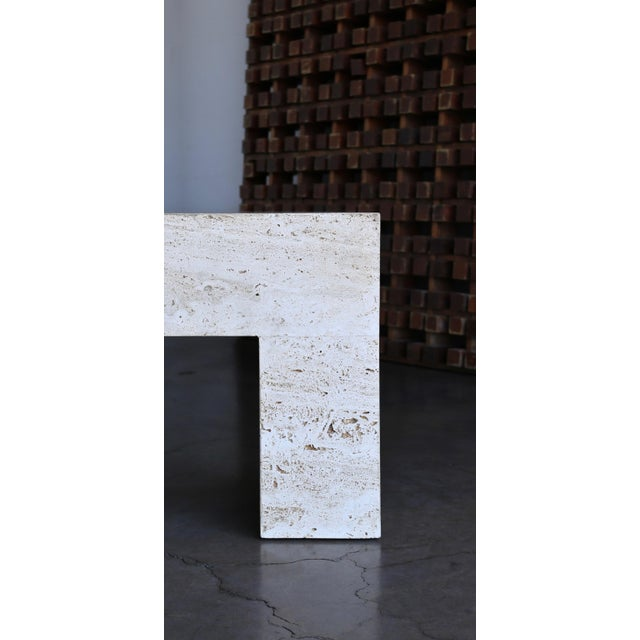 Mid-Century Modern Travertine Coffee Table 1980 For Sale - Image 3 of 11