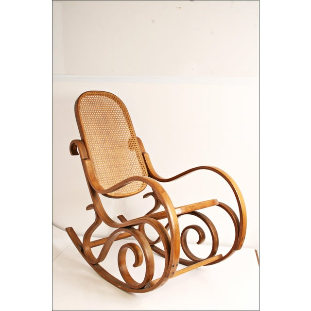 Vintage Thonet-Style Bentwood Cane Rocking Chair - Image 2 of 11