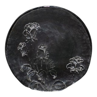 Vintage Glass Platter With Roses