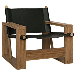 Agamemnon Chair, Teak and Leather For Sale
