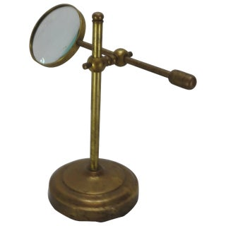 Brass Industrial Magnifier on Stand For Sale