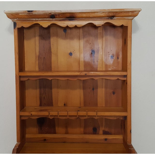 Rustic Style Pine China Hutch Sideboard With Spindles - 2 Pieces For Sale - Image 6 of 12