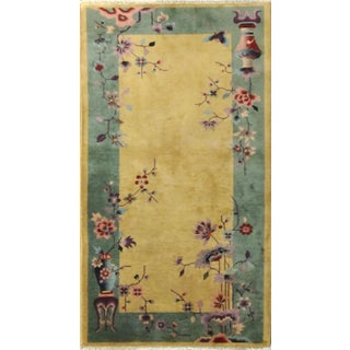 """Antique Art Deco Chinese Rug, 3' X 5'9"""", Great Colors For Sale"""