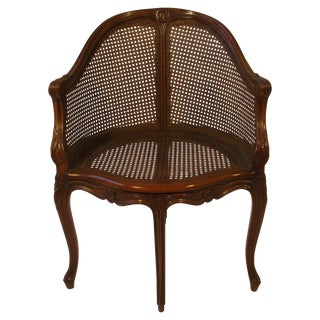 1950s Carved French Style Caned Back Corner Chair For Sale